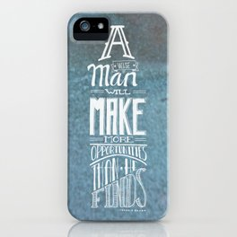 A Wise Man - White on Tarnished Metal Green iPhone Case