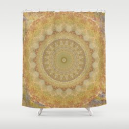 Topaz Gold Sun Marble Mandala Shower Curtain