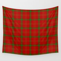 plaid Wall Tapestries featuring Christmas Plaid by apgme