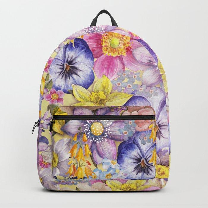 Painterly Vintage Spring Flowers Pattern - Springflower floral Backpack