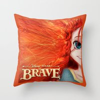 merida Throw Pillows featuring Brave: Merida by Schewy