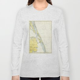 Vintage Map of The Outer Banks (1942) Long Sleeve T-shirt