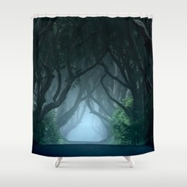 Cold foggy morning in Dark Hedges Shower Curtain