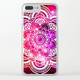 Galaxy Mandala Red Fuchsia Purple Pink Clear iPhone Case