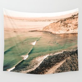 California Pacific Coast Highway // Vintage Waves Crashing on the Beach Teal Ocean Water Wall Tapestry