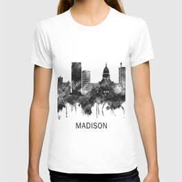 Madison Wisconsin Skyline BW T-shirt