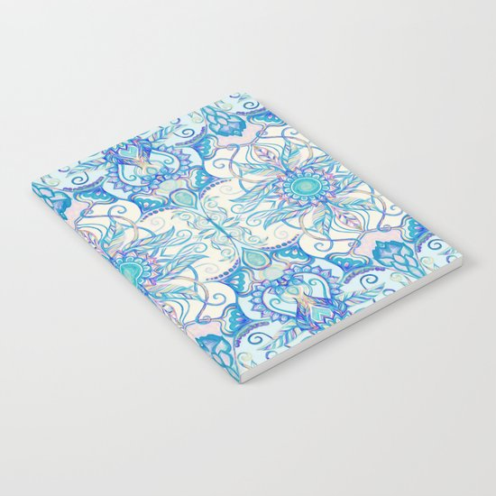 Teal Blue, Pearl & Pink Floral Pattern Notebook