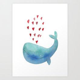 Loving whale Art Print