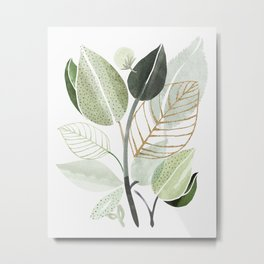 Forest Bouquet - Green Leaves Watercolor Metal Print