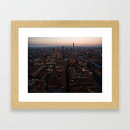 Bologna sunrise city aerial drone italy Framed Art Print