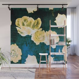 Gold Roses on Distressed Canvas Wall Mural