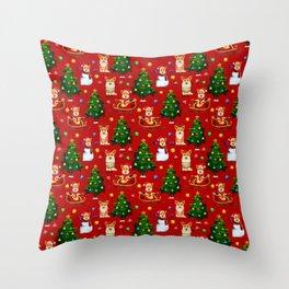 Merry Corgmess- Corgi Celebrate Christmas- Xmas Red Throw Pillow