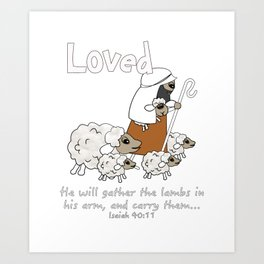 Christian Design - Loved Sheep with the Good Shepherd Art Print