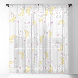 usagi bed pattern Sheer Curtain