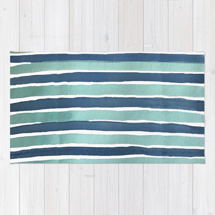 Aqua Teal Stripe Rug