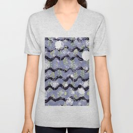 Modern abstract black white lilac floral geometrical Unisex V-Neck