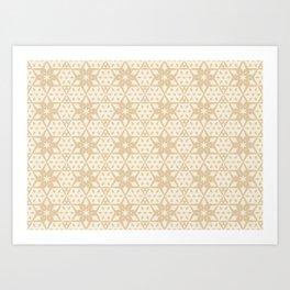 Stars and Hexagons Pattern - Sahara Sand Art Print