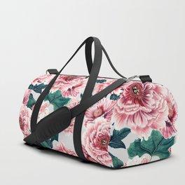 Pattern pink vintage peonies Duffle Bag