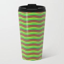 Digital Art Waves Multicolored Travel Mug