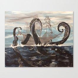 Ghost Ship Vesus Sea Monster! Canvas Print