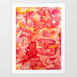Fiery Abstract Watercolor Art Print