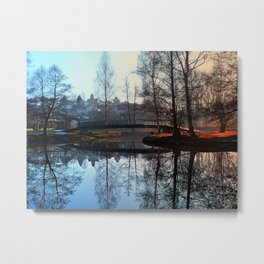 A bridge, the river and reflections | waterscape photography Metal Print