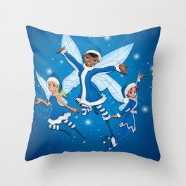Fairy Christmas (Blue) Throw Pillow