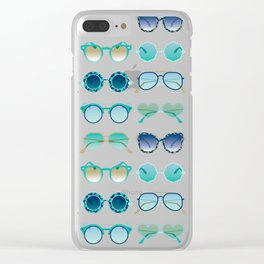 Sunglasses Collection – Turquoise & Navy Palette Clear iPhone Case
