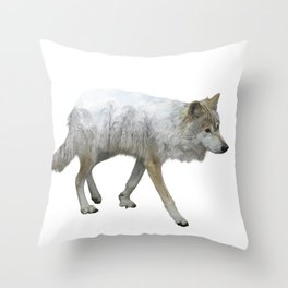 wolf double exposure in the winter time Throw Pillow