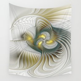 Noble And Golden, Abstract Modern Fractal Art Wall Tapestry