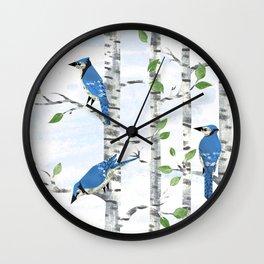 Fox and Blue Jay Birds Wall Clock