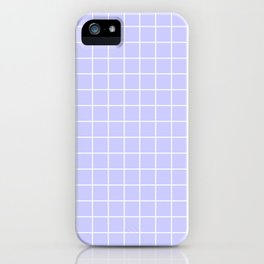 Lavender blue - heavenly color - White Lines Grid Pattern iPhone Case
