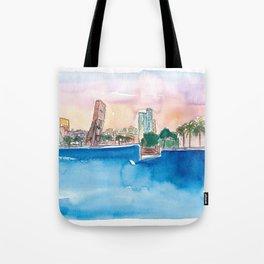 Fort Lauderdale Skyline Sunset In Florida Tote Bag