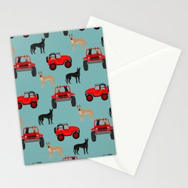 Great Dane jeep car dog breed pattern custom pet portrait Stationery Cards