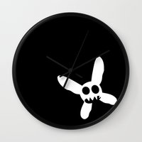 pixies Wall Clocks featuring Necrotic Pixies Jolly Rodger by Jesse G.