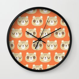 Cute Bear Pattern / Repeat Print / Orange Wall Clock