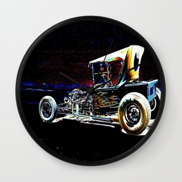 Hot Rod With Flames Wall Clock