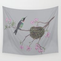 hummingbird Wall Tapestries featuring Hummingbird by Nancy Smith