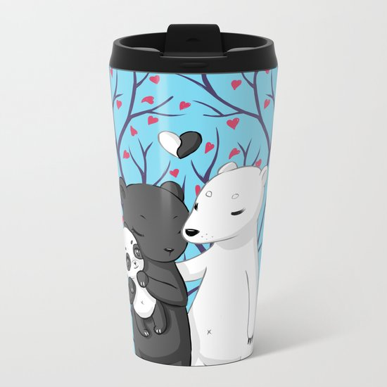 Bear Family Metal Travel Mug