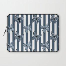 Blue butterflies on a striped background . Laptop Sleeve