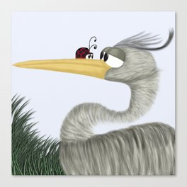 Herb The Heron And His Visitor Canvas Print