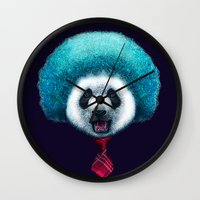afro Wall Clocks featuring PANDA AFRO by ADAMLAWLESS
