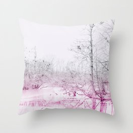 Snowy Lake Throw Pillow