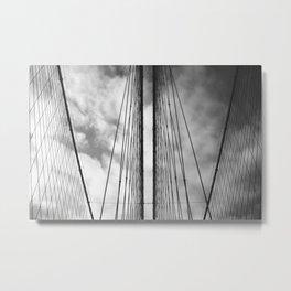 New York - Brooklyn Bridge, Black and White Metal Print