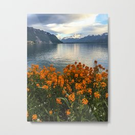 Lake Geneva and Alps, Montreux, Switzerland Metal Print