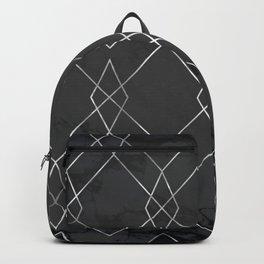 Silver Geometric on Black Marble Backpack
