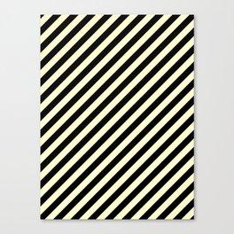 Cream Yellow and Black Diagonal RTL Stripes Canvas Print