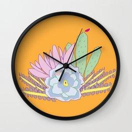 Succulents Orange Wall Clock