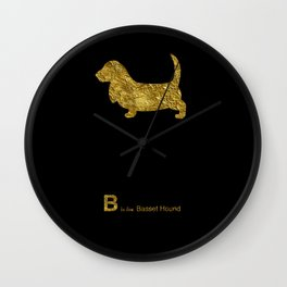 Basset Hound | Dog | gold foil Wall Clock
