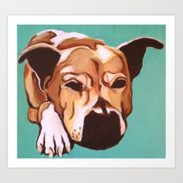 Painting of pet/dog Labrador Mix on Teal Art Print